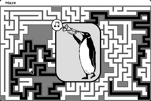When you solve the maze, a picture appears of a penguin blowing a triumphant note on a bugle.