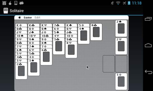 Mac Solitaire running in AMS on an Android phone