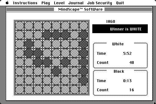 Game over: White has beaten Black, 48-16